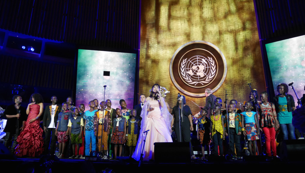 Singing the finale at The Transformative Power of Music concert at the United Nations General Assembly Hall with artists from around the world