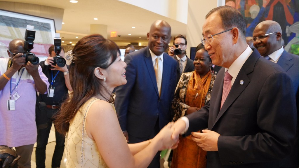 Talking about peace with Secretary-General Ban Ki-moon at the United Nations
